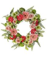 """RAZ Imports Spring Pink/Green 24"""" Mixed Floral Wreath - $12.99"""