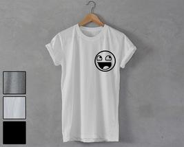 Happy Smiley Face Shirt pocket print unisex T-Shirt tumblr party instagr... - $14.99