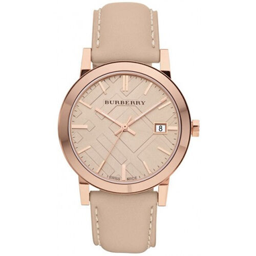 New Burberry BU9014 Tan Dial Leather Strap Unisex Watch, ON SALE NOW
