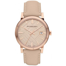 New Burberry BU9014 Tan Dial Leather Strap Unisex Watch, ON SALE NOW - $234.62
