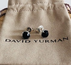 David Yurman Silver Stud Chatelaine Earrings with Black Onyx NEW Authentic - $176.69