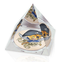 "Jolly Pirate Cat Funny Illustrated Animal Art 3.25"" Crystal Pyramid Pape... - $29.95"