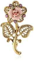 1928 Jewelry Gold Tone Pink Crystal and Porcela... - $37.18