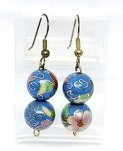 Blue Pink Flower Floral Cloisonne Bead Beaded Dangle Earrings - $24.74