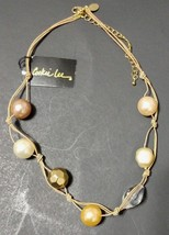 """Cookie Lee Necklace Boho Hippie Bead Short Hand Knotted Faux Pearl Cord 19"""" NWT - $10.89"""