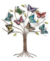"26"" Stunning Butterfly Tree Wall Decor with 9 Butterflies on Branches All Metal"
