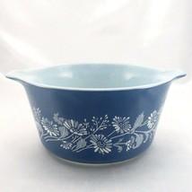 Pyrex 473 Colonial Mist Serving Bowl 1qt Blue Daisy Casserole Dish Made ... - $19.95