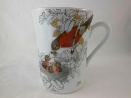 Vintage Japan Otagiri Robin red breast feeding babies Coffee Mug Tea Cup... - $12.86