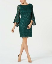 Jessica Howard Bell-Sleeve Glitter Lace Dress Hunter Size 6 - €43,03 EUR