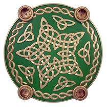 Celtic Knot Star Advent Wreath Candleholder with Wax Taper Candles, 9 1/2 Inch