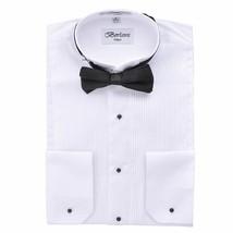 New Berlioni Italy Men's Premium Tuxedo Dress Shirt Wingtip Collar Bow-Tie White
