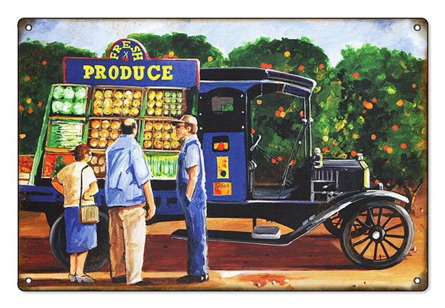 Primary image for Original Art by Bob Miller Ford Model T Fresh Produce Sign