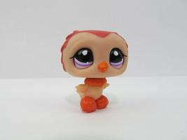 Littlest Pet Shop #1147 Orange & Salmon Baby Owl Bird with Purple Eyes  LPS - $6.43