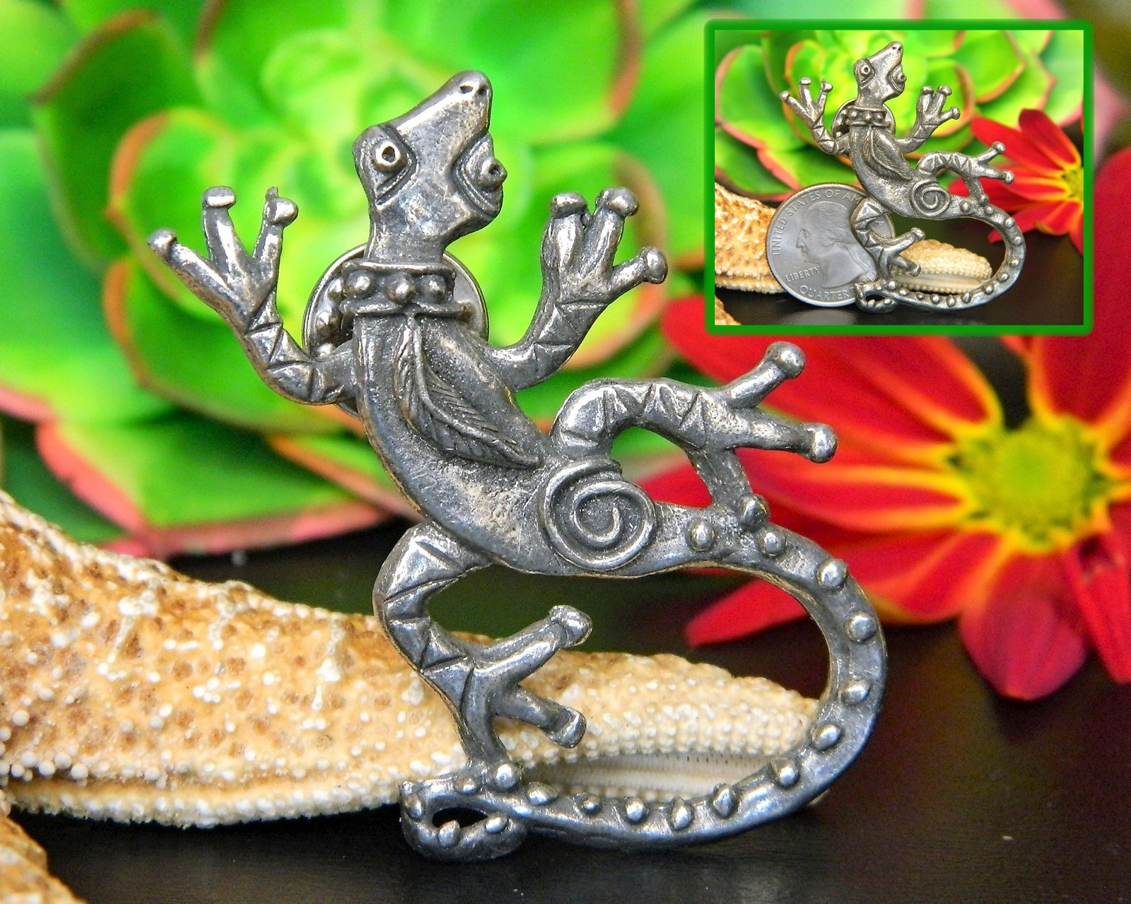 Lizard Gecko Tie Tack Lapel Pin Southwest Signed HF Pewter Figural
