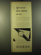 1950 Omega Automatic Watch Ad - His watch - most prized of all - $14.99