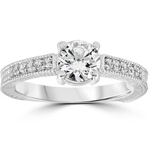Vintage Diamond Engagement Ring 1 Carat 14K White Gold Round Brilliant Cut - $729.10