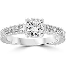 Vintage Diamond Engagement Ring 1 Carat 14K White Gold Round Brilliant Cut - £545.46 GBP