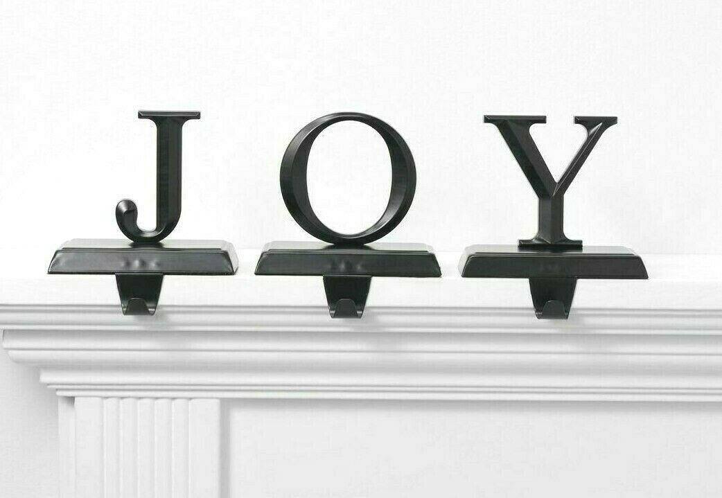 Set of 3 Joy Christmas Holiday Stocking Holder Matte Black Metal Wondershop NEW