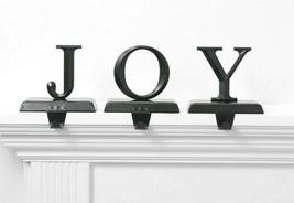 Set of 3 Joy Christmas Holiday Stocking Holder Matte Black Metal Wondershop NEW image 1