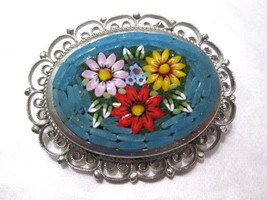 TURQUOISE BLUE COLOR WITH FLOWERS MICROMOSAIC PIN SIGNED ITALY FRILLY ME... - $29.00