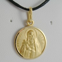 SOLID 18K YELLOW GOLD HOLY ST SAINT SANTA RITA ROUND MEDAL MADE IN ITALY  image 1