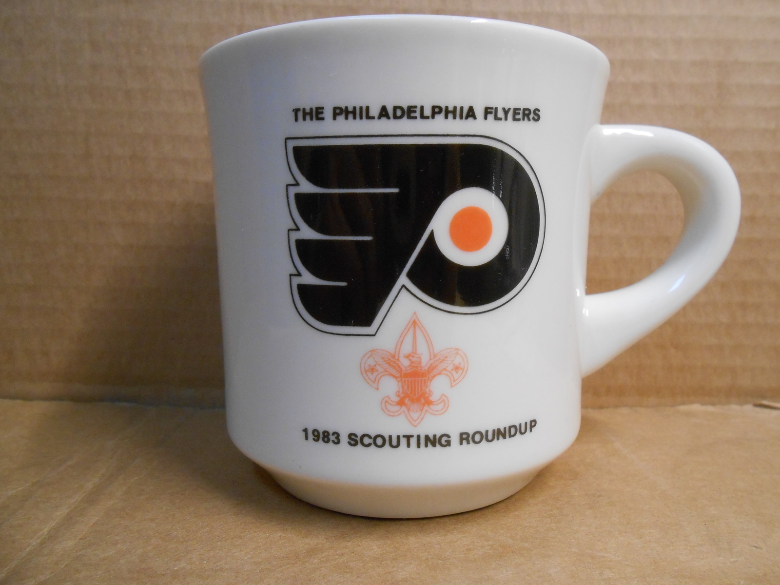 Primary image for THE PHILADELPHIA FLYERS 1983 SCOUTING ROUNDUP CERAMIC MUG B.S.A. NEW MINT SM14