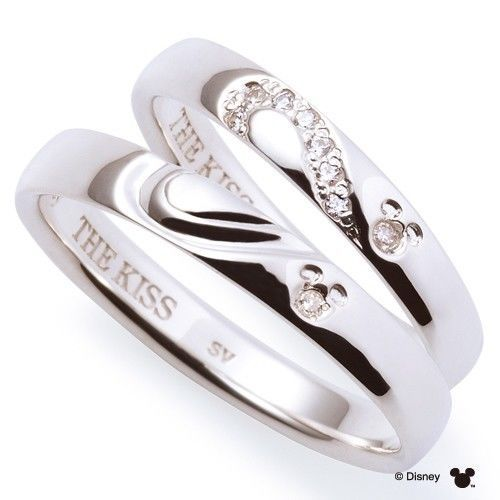 Disney × THE KISS Mickey mouse Diamond Pair ring Sterling Silver 925 Men Women