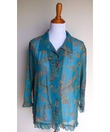 SARA MORGAN FOR HABAND ~ PL LARGE TEAL PAISLEY EMBELLISHED BUTTON BLOUSE... - $12.00