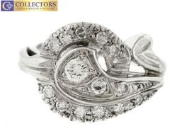 Lovely Ladies Vintage Estate 14K White Gold 0.35ctw Diamond Cocktail Ring - $386.32