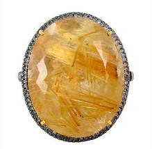 Rutile Quartz 14k Gold Gemstone COCKTAIL Ring Diamond Pave .925 Silver J... - €1.059,84 EUR