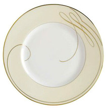 "Waterford Ballet Ribbon Gold Champagne 9"" Accent Plate Made in England New - $29.90"