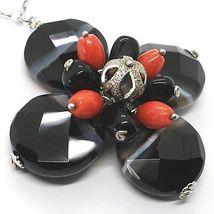 Halskette Silber 925, Achat Disco Facettiert, Onyx, Koralle, Blume Anhänger image 3