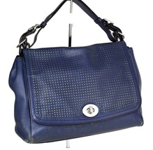 100% Authentic COACH Legacy Perforated Leather Romy Navy Hand Bag Used - $117.81
