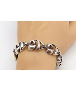 925 Sterling Silver - Vintage Smooth Sculpted Swirl Link Chain Bracelet ... - $130.25