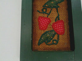 vintage handmade shabby chic  framed burlap with strawberry applique pic... - $16.78