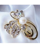 NEW Vintage Freshwater Pearl .925 Silver Plated Bouquet Brooch Pin Gift Box - $29.68