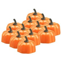 Anpress 12 Pcs Orange Pumpkin Tealights 3D Pumpkin Flameless Candle Ligh... - $13.69