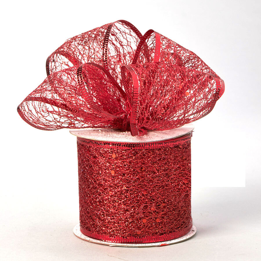 Primary image for Decorative Tulle Glitter Sheer Wired Ribbon Roll 2.5 inch x 10 Yard, Red
