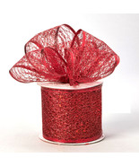 Decorative Tulle Glitter Sheer Wired Ribbon Roll 2.5 inch x 10 Yard, Red - $9.85