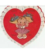 Vintage Valentine Card Girl in Big Hat A-Meri-Card Heart Shape - $7.91