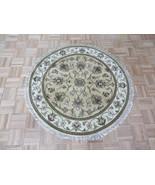 4 X 4 Round Hand Knotted Beige Jaipur Agra Design Oriental Rug G7050 - $197.12