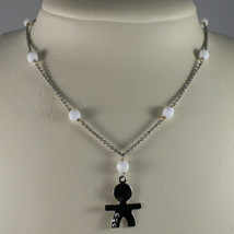 .925 SILVER RHODIUM NECKLACE WITH WHITE AGATE AND LITTLE BOY WITH 3 CRYSTALS image 1