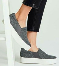 Vince Warren Platform Sneakers 8 Gray Tweed $225 Notched Vamp Cushioned Slip On - $135.15