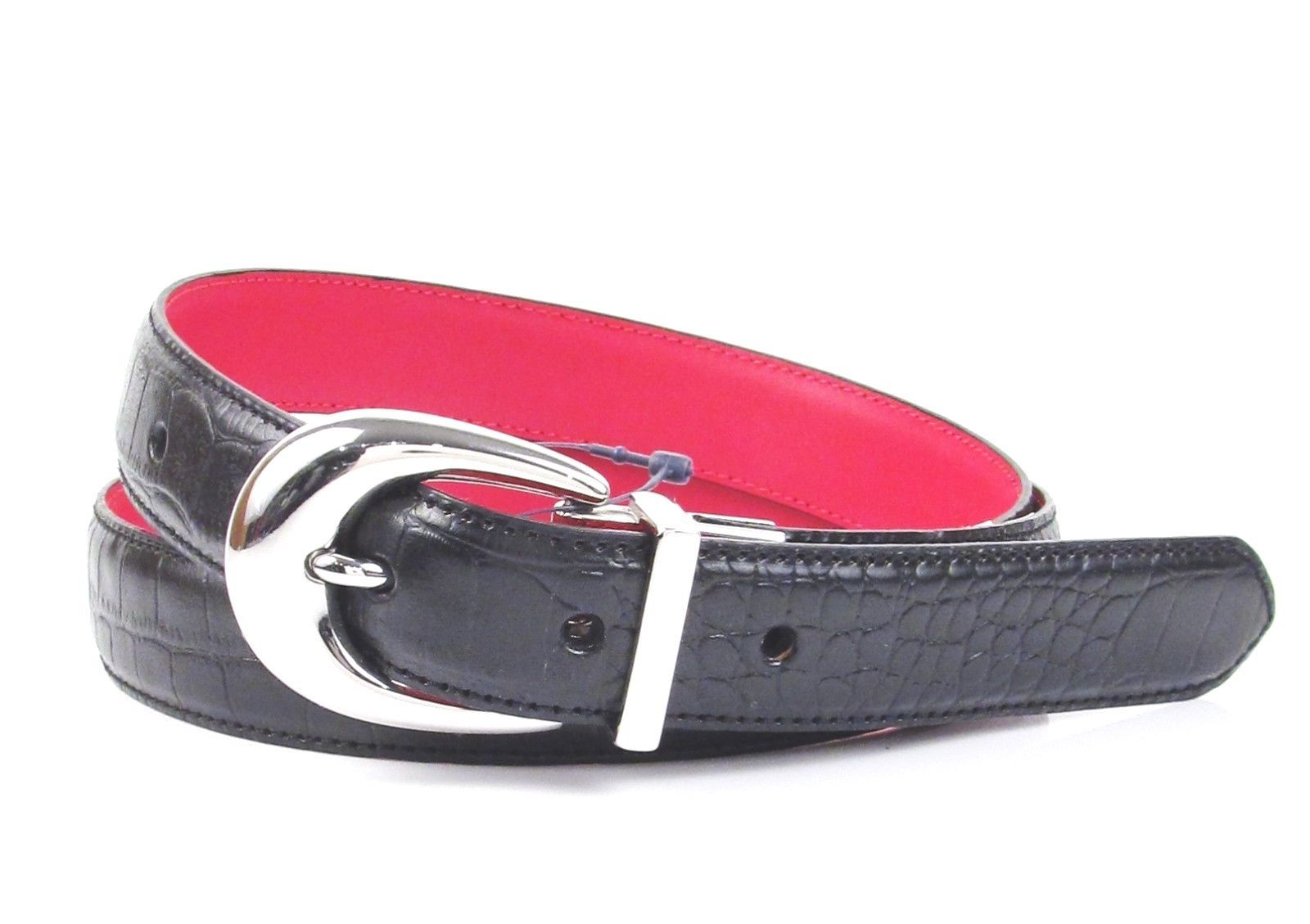 LAUREN Ralph Lauren Croc Embossed Leather Reversible Belt 412566598 Black/Red