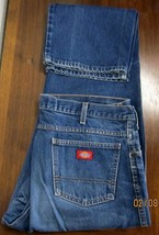 Dickies Mens 5 Pocket Work Straight Leg Blue Jeans W38 L34 Medium Blue Cotton - $24.75