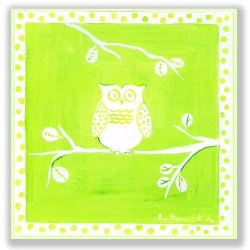 The Kids Room by Stupell White Owl on Green Square Wall Plaque