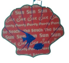 Hanging Shell Fish Sparkle Sign Coral Luau Party Tiki Summer Sun Pool Pl... - $10.22 CAD