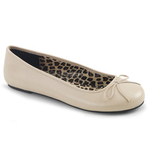 PLEASER Cream Faux Leather Ballet Flats Women's Shoes Large SIZES ANNA01... - $40.95