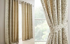 WOVEN DAMASK LINED SAGE GREEN CREAM RING TOP CURTAINS & TIEBACKS *8 SIZES* - $57.77+