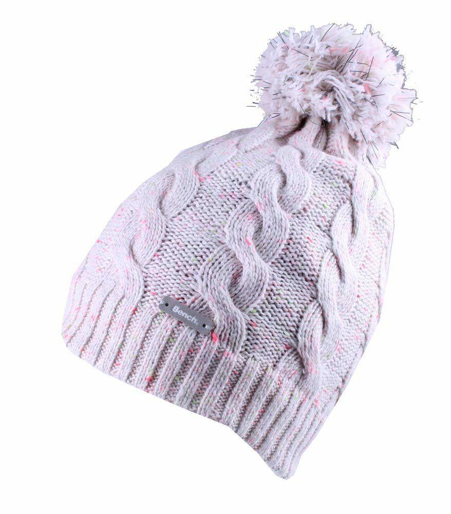 Bench Femmes Chasse Crème Rose Câble Tricot Poly Pompom Chapeau Bonnet Hiver Nwt